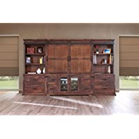 Crafters and Weavers Granville Rustic Brown 122 TV Stand Wall Unit