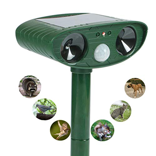 (KaoXiYu Ultrasonic Animal Repeller,Solar Ultrasonic Electronic Animal Pest Repellent,With Flash Light and Warning Sound Effective Outdoor Waterproof Farm Garden Yard Use,expel Dogs,Cats,Skunks,Rod,etc)
