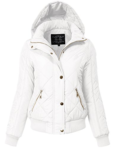 Warm Regular Fit Quilted Padding Bomber Jackets, 149-White, Medium