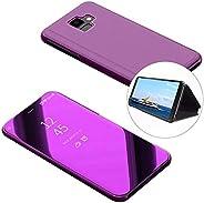 LCHDA Flip Folio Case for Samsung Galaxy S10 5G,Luxury Smart Clear View Makeup Mirror Plating Vertical Kicksta