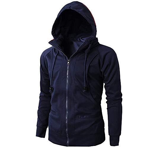 Men Hoodie Pullover,Vanvler Male Autumn Winter Jacket Long Sleeve Zipper Blouse Sport Tops Navy
