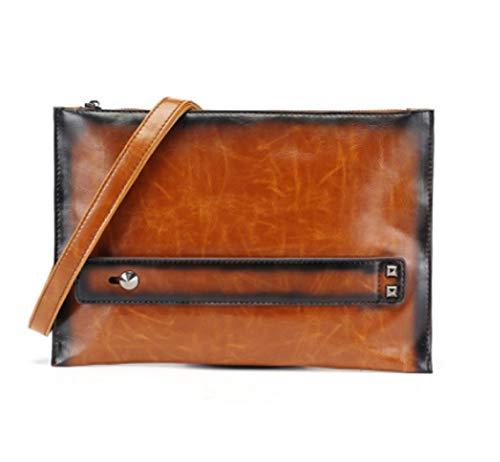 Bag Casual Cuero Embrague ZHRUI Hombro Retro Bolso Marrón Bolso Bag de Individual Messenger Multifunción Clutch w80t8