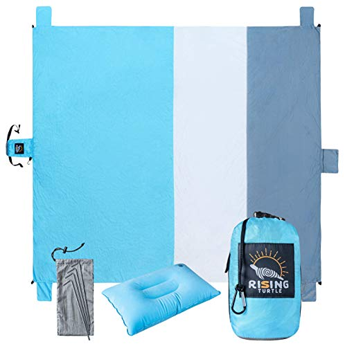 Rising Turtle Sand Safe Outdoor Beach Blanket: Large 8X9 Foot, Sand-Proof, Portable, Compact, Foldable Mat for Camping, Picnic, Hiking, and Festivals
