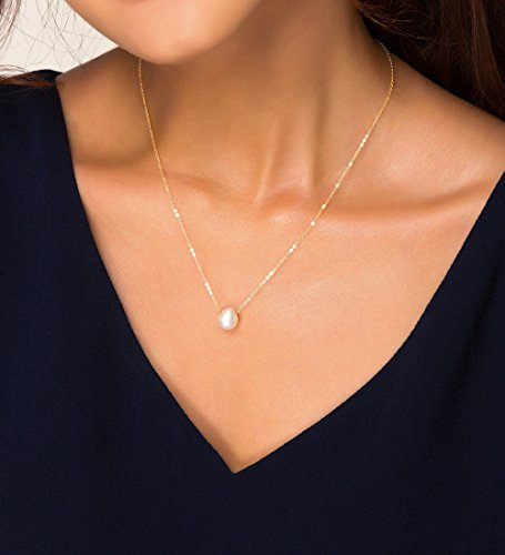 Delicate Single Pearl Necklace, Small Pearl Floating Necklace, White Teardrop Pearl Necklace, June Birthstone, Bridesmaid Gifts
