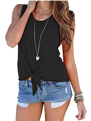 L/s Black Apparel - Ouregrace Women's Summer Sleeveless Shirt Blouse Front Tie Knot Cami Tank Tops (Black, L(US 12-14))
