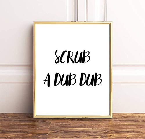 Dub Frame Child Dub (Arvier Scrub A Dub Dub Bathroom Sign Funny Print Funny Poster Bathroom Print Funny Bathroom Kids Bathroom Bathroom Printable Prints Framed Wall Art)