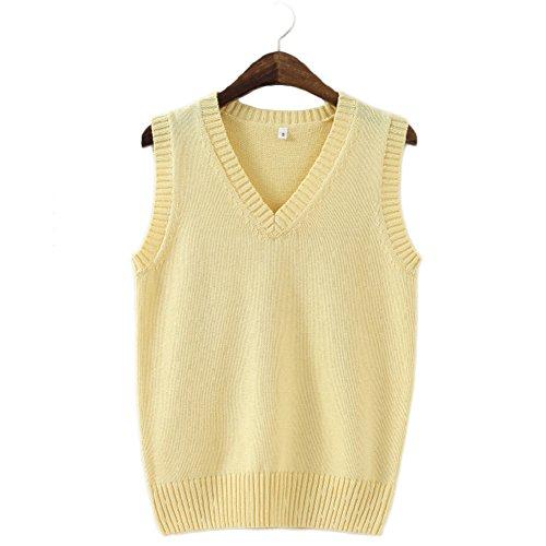 Yellow Sweater Vest - Bingooutlet Men Women Knitted Cotton V-Neck Vest JK Uniform Pullover Sleeveless Sweater School Cardigan
