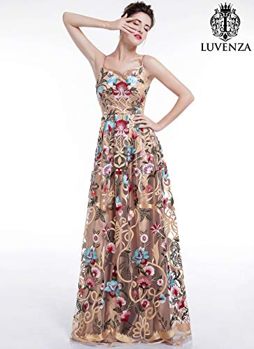 (Golden Spaghetti Strap Floral Embroidery Maxi Evening Dress with Art Deco Style Embroidery)