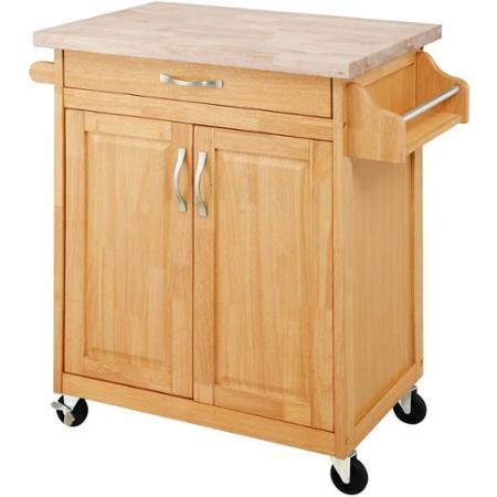 Portable Traditional Cabinet Design Solid Wood Top Kitchen Island Cart Natural Furniture