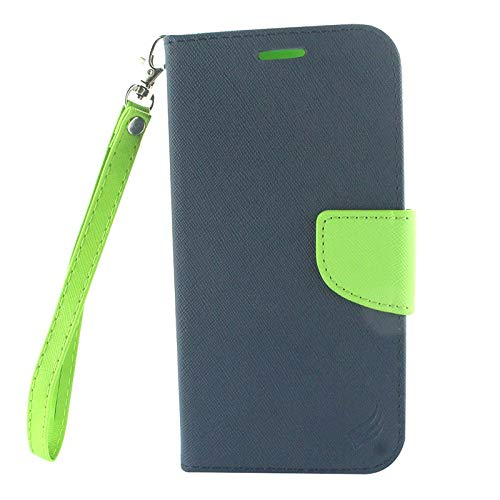 Insten Stand Folio Flip Leather [Card Slot] Wallet Flap Pouch Case Cover Compatible with LG X Venture, Blue/Green