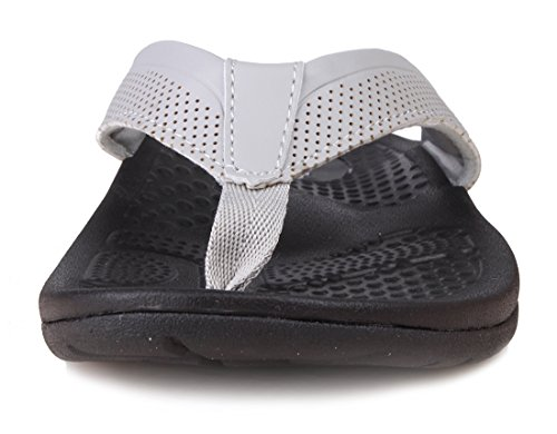 Kunsto Mens Läder Flip Flops Sandaler Med Ärke Support Grå