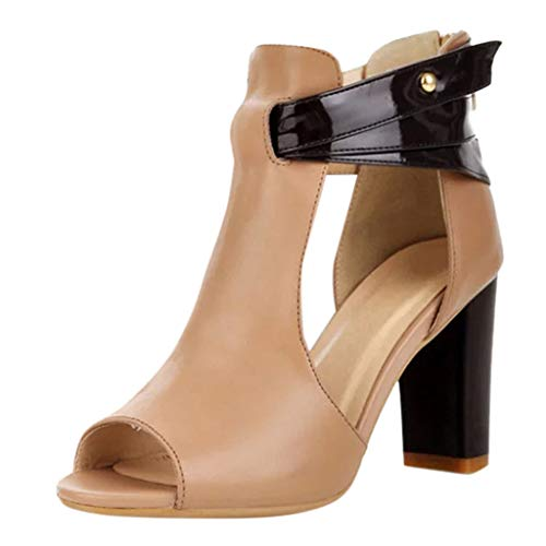 COPPEN Women Sandals Fish Mouth High Heel Zipper Leather Single Shoes -