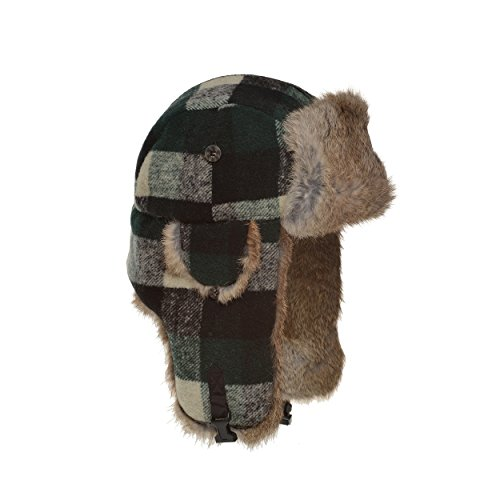 Mad Bomber Original Balaclavas Headwear, Green Buffalo Plaid with Brown Rabbit Fur, Medium