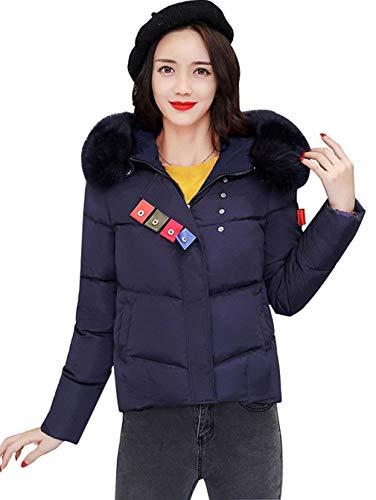 Tasche Especial Con Moda Pelliccia Puro Invernali Qualità Donna Schwarzblau Corto Coat Di Cappuccio Calda Colore Sintetica Alta Mantello Lunga Manica Imbottita Cappotto Estilo npwpZXqU6