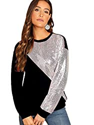 Silver & Black Long Sleeve Sequin Sweatshirt Pullover