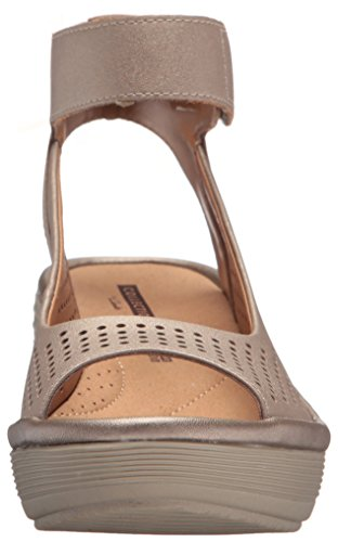 Clarks Delle Donne Reedly Salene Cuneo Cuoio Sandalo Stagno