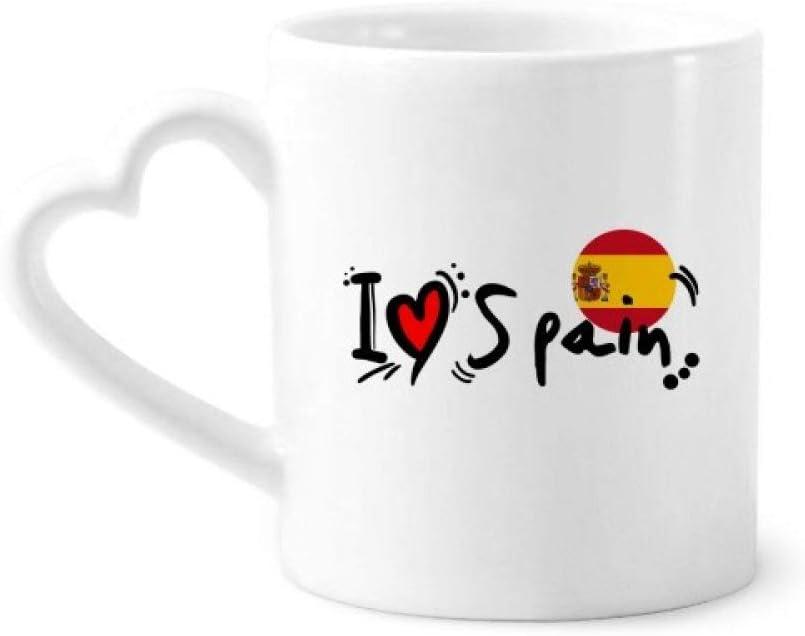 DIYthinker Amo españa Palabra Bandera ilustración del Amor del corazón Taza de café de la cerámica Taza de cerámica con la manija 12 oz Regalo del corazón: Amazon.es: Hogar