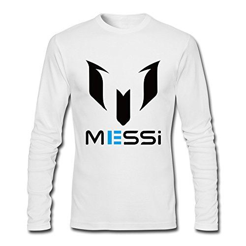 Lionel Messi Fc Barcelona Argentina FIFA Tee XL White For Men Long Sleeve