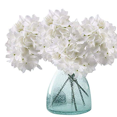 Meiwo Artificial Hydrangea Flowers, 2 Pcs Fake Hydrangea Silk Flowers to Shine Your Wedding Scene Arrangement and Home Party Decor(White)