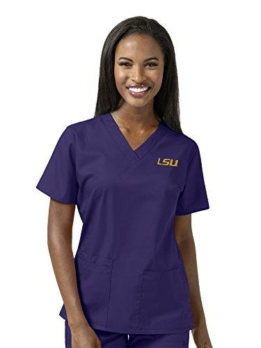 State Louisiana Drapes University (WonderWink Women's Plus Size Louisiana State University V-Neck Top, Grape, 2X-Large)