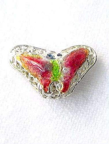 Lime & Cherry Cloisonne 16x10mm Butterfly Pendant Beads for Jewelry Making 8635B