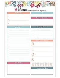 """Bloom Daily Planners 6x 9planificación almohadillas para orejas para orejas, 6"""" x 9"""" Planning System Pad - Floral Dots"""