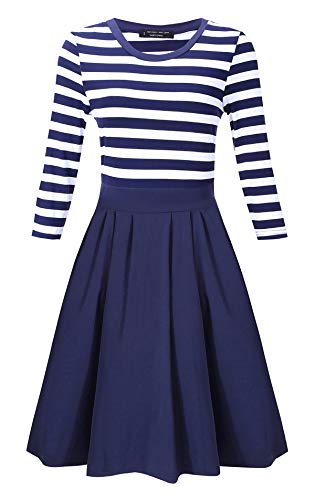 BI.TENCON Women's 3/4 Sleeve Navy Blue and White Striped Retro Business Casual Cocktail Dress M