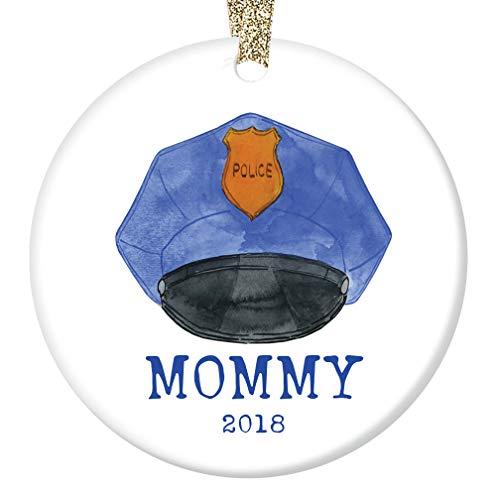 Police Officer Keepsake (Police Mommy 2018 Christmas Ornament Porcelain Keepsake Present Female Officer Policewoman Mother Mom Mama from Children Child Son Daughter 3