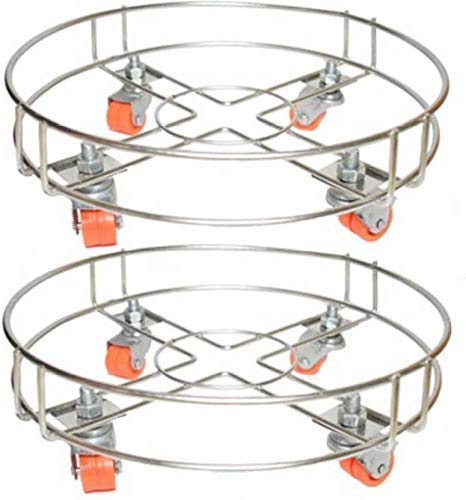 Santosh Enterprises Stainless Steel LPG Cylinder Stand Trolley with Wheels (Silver) – Set of 2 Pieces Price & Reviews