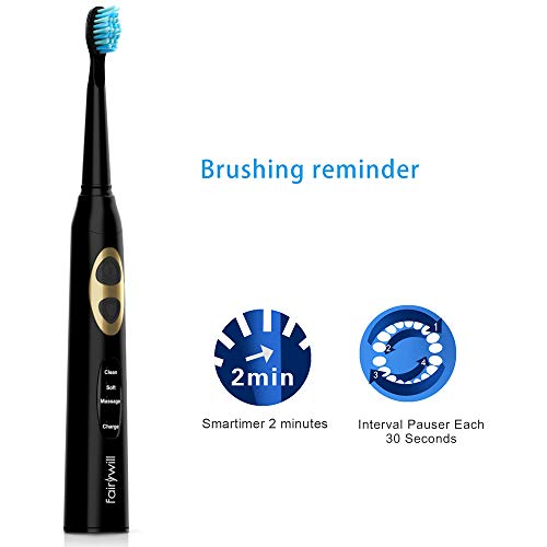 Fairywill Electric Toothbrush, Electric Sonic Toothbrush with 3 Optional Modes and 3 Replacement Heads,Pearl Black