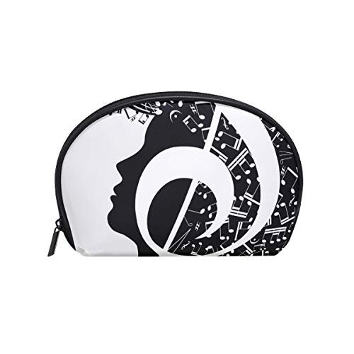 Makeup Bag Black White Music Note Women Face Cosmetic Pouch Clutch ()