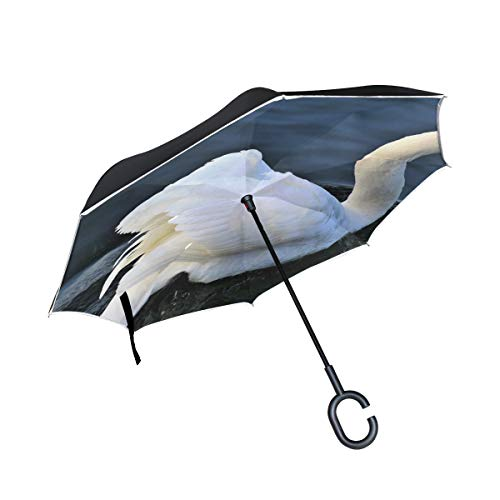 KNEVFLOW Double Layer Inverted Lake Water Bird Nature Pen at The Court of Umbrellas Reverse Folding Umbrella Windproof Uv Protection Big Straight Umbrella for Car Rain Outdoor with C-Shaped Handle by KNEVFLOW