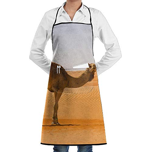 Goods Shops Bib Apron With Pockets Desert Sand Camel Durable Cooking Kitchen Aprons Can Embroidery