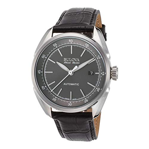 Bulova Men's Stainless Steel and Black Leather Automatic Watch (Model: 63B188) ()