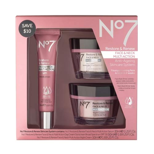 No7 Restore & Renew Face & Neck Multi Action Skincare System , pack of 1 (30 Ml Super Moisture Makeup)