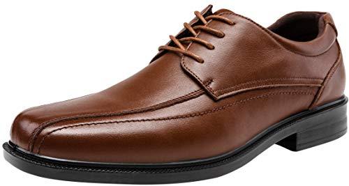 JOUSEN Men's Dress Shoes Leather Formal Shoes Square Toe Oxford (9,Brown)