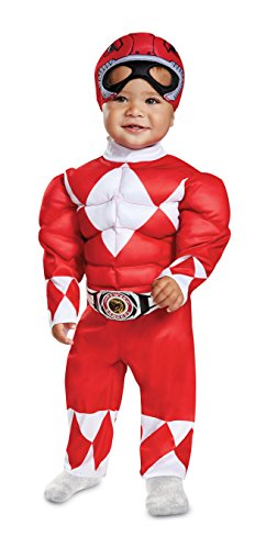 Disguise Red Ranger Infant Muscle Child Costume, Red, (12-18 Months)