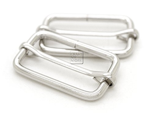 CRAFTMEmore Movable Bar Slide Strap Adjuster Rectangle Strap Keeper Triglide Belt Keeper Purse Making 1 1/4 & 1 1/2 Pack of 10 (1 1/2 Inches, Silver)