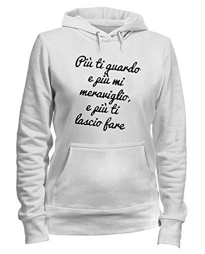E Cappuccio T Guardo Fare Bianca Donna Felpa Tdm00217 shirtshock Meraviglio Ti Piu Mi Lascio HH1PFT