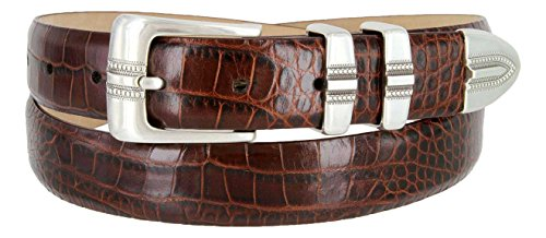 Alligator Dress Belt (Kaymen Italian Calfskin Leather Designer Dress Golf Belts for Men 1-1/8
