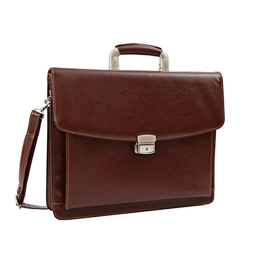 DEERLUX QI003305 Leather Briefcase, Mens Business Messenger Bag for Laptop Brown