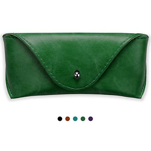 Portable Leather Glasses Case,Durable Soft Sunglasses Pouch Slim Case for Women Men Horizontal Eyeglass Case (Green)