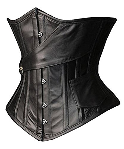 Camellias Womens Faux Leather Steampunk Gothic Steel Boned Underbust Waist Training Corset Plus Size up to 5XL,SZ1866-Black-S -
