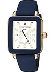 MICHELE Womens Swiss Quartz Stainless Steel and Rubber Casual Watch, Color:Blue (Model: MWW06K000001)
