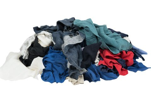 RagLady Recycled Colored T-Shirt Rags - 18'' x 18'' - 50 Pounds in a Box