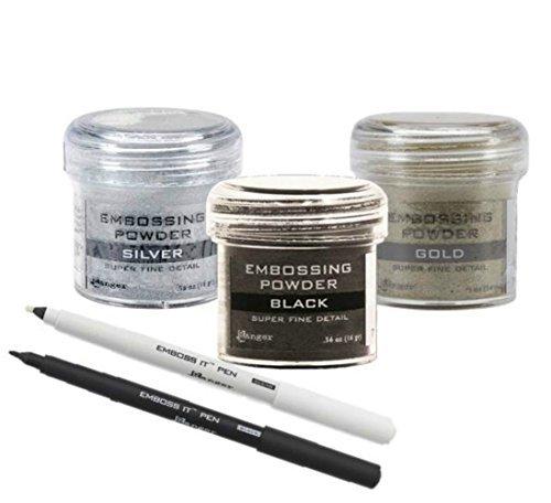 Ranger Embossing Kit - 3 Super Fine Embossing Powders w/ranger (2) Emboss It Pen Black and Clear by Ranger