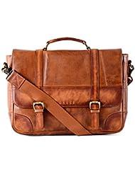 Gauge 15 Inch Washed Leather Laptop Messenger Bag Office Briefcase College Bag Satchel for Men (Tan)