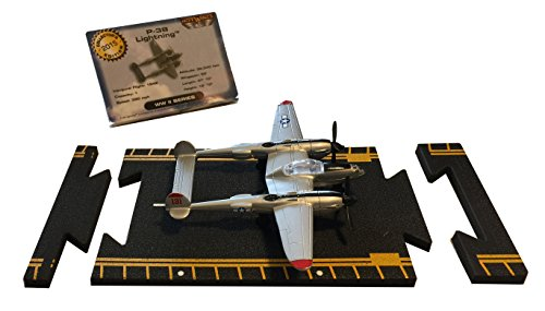 Hot Wings P-38 Lightning with Connectible Runway Die Cast Plane Model Airplane, Grey