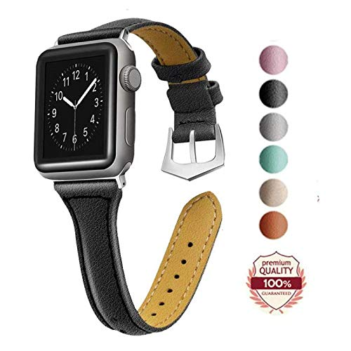 DONOTAG Replacement Bands Compatible for Apple Watch Band 38mm 40mm,Band Slim Leather Wristband Replacement Strap Compatible for iWatch Bands Series 3, Series 2, Series 1, Sport, Edition