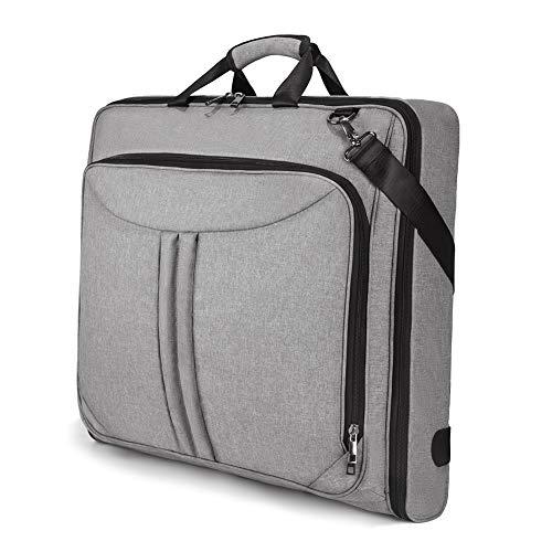 SUVOM Carry On Garment Bag for Travel & Business Trips with Shoulder Strap, Suit Bag Duffel Bag Weekend Bag Holdall for Men Women, Wrinkle Free for Shirts Dresses Coats (Grey)